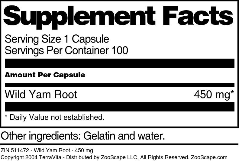 Wild Yam Root - 450 mg
