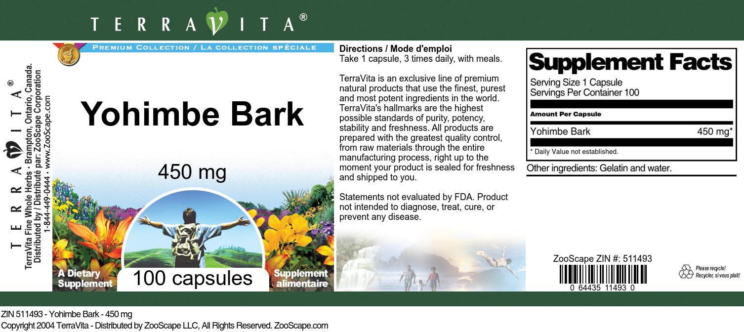 Yohimbe Bark - 450 mg