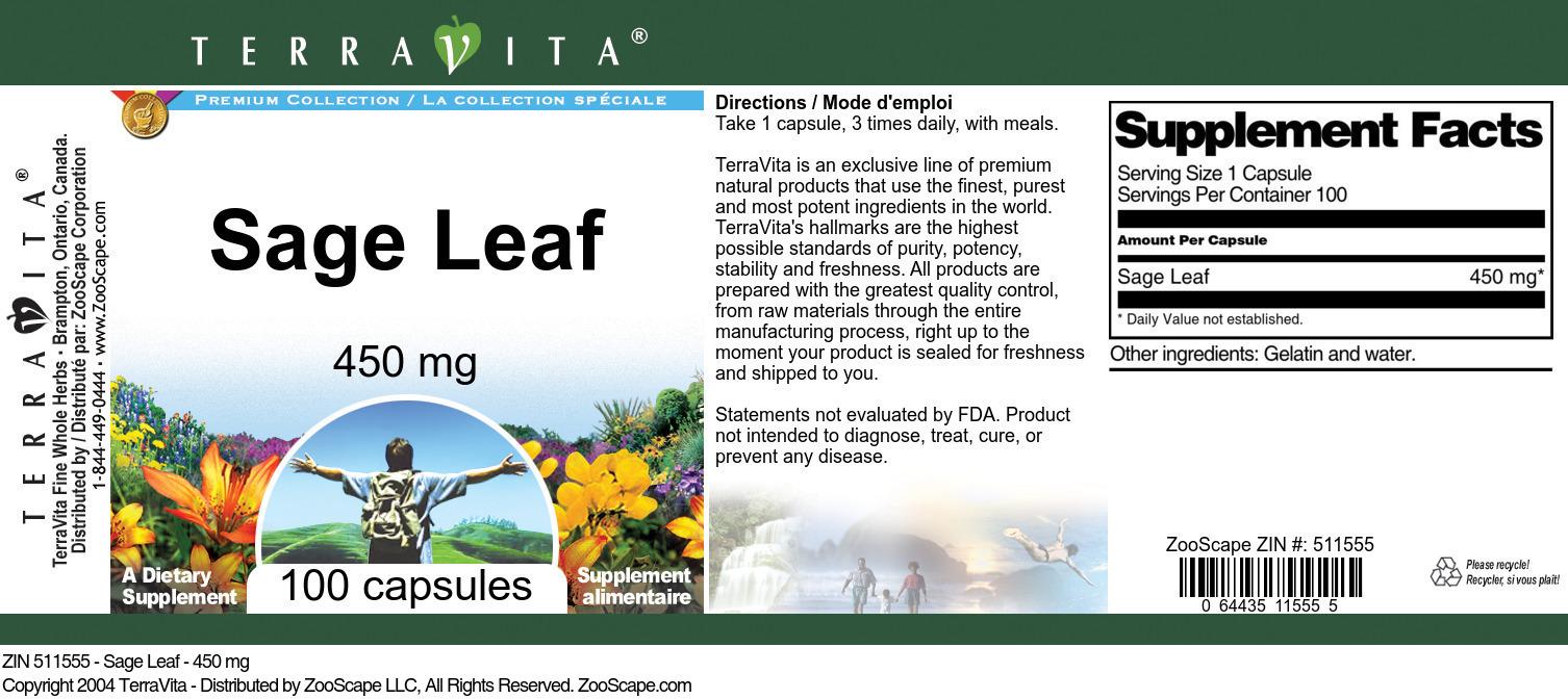 Sage Leaf - 450 mg - Label