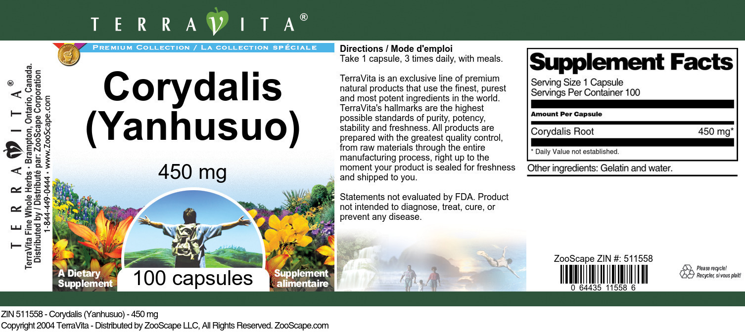 Corydalis (Yanhusuo) - 450 mg