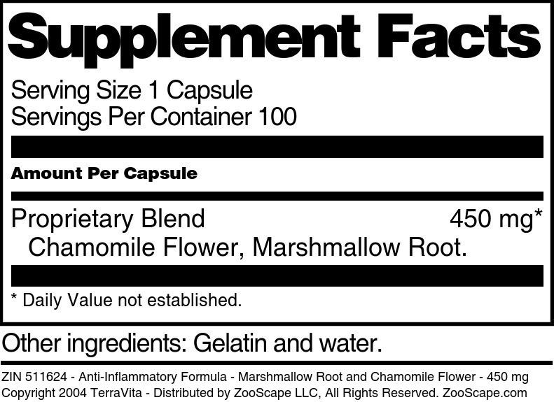 Anti-Inflammatory Formula - Marshmallow Root and Chamomile Flower - 450 mg