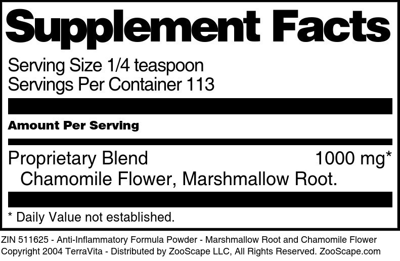 Anti-Inflammatory Formula Powder - Marshmallow Root and Chamomile Flower