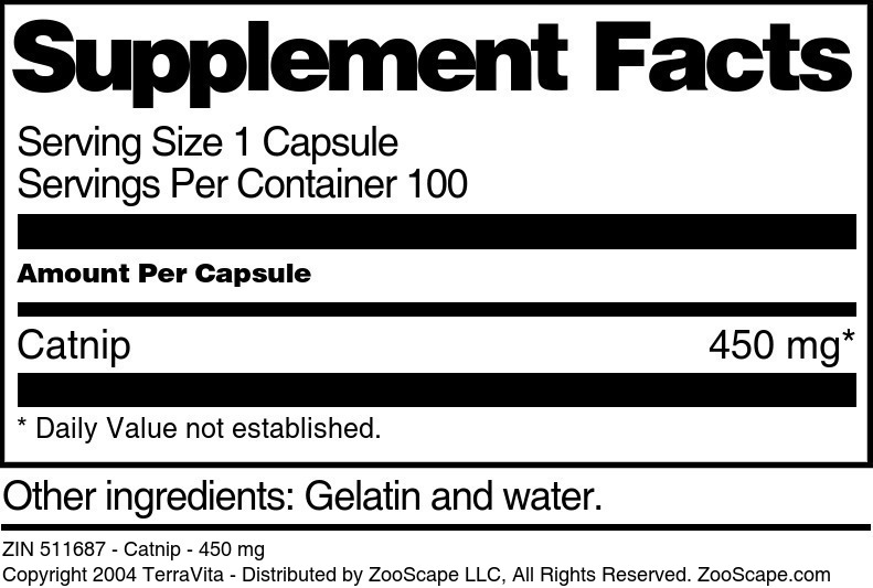 Catnip - 450 mg - Label