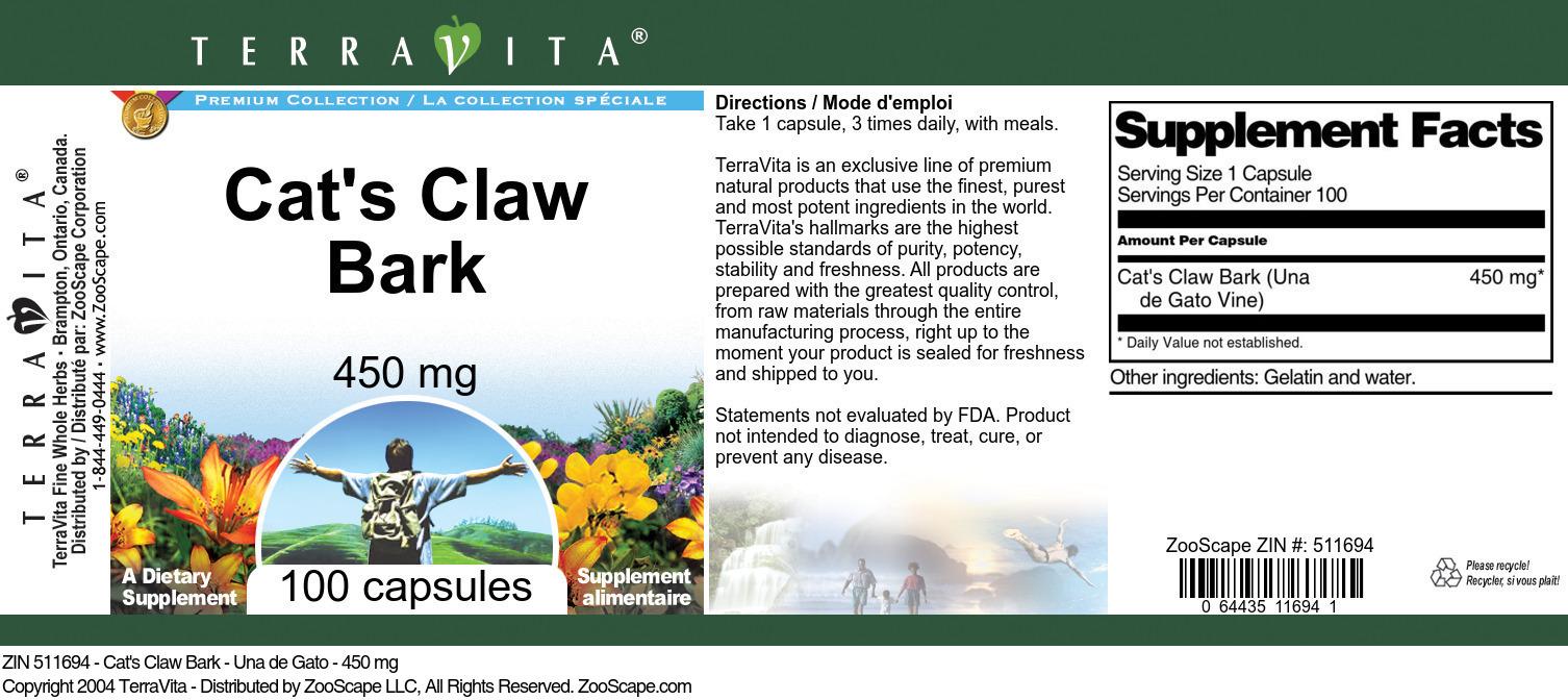 Cat's Claw Bark - Una de Gato - 450 mg