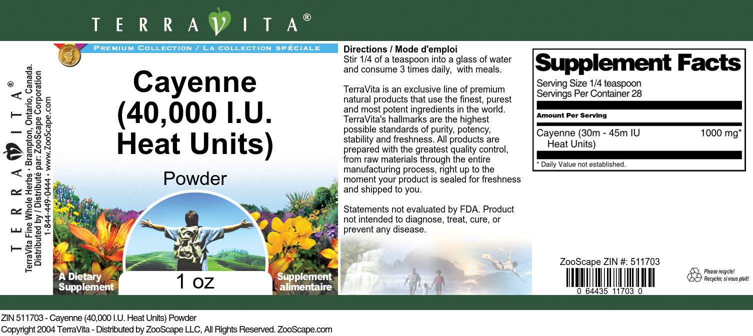 Cayenne (40,000 I.U. Heat Units) Powder