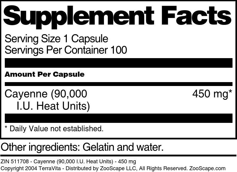 Cayenne <BR>(90m - 110m IU Heat Units)