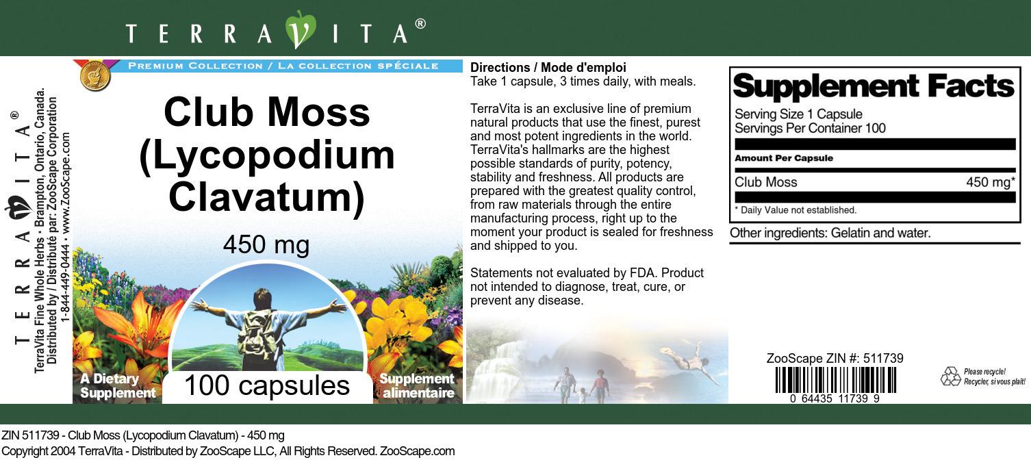 Club Moss (Lycopodium Clavatum) - 450 mg
