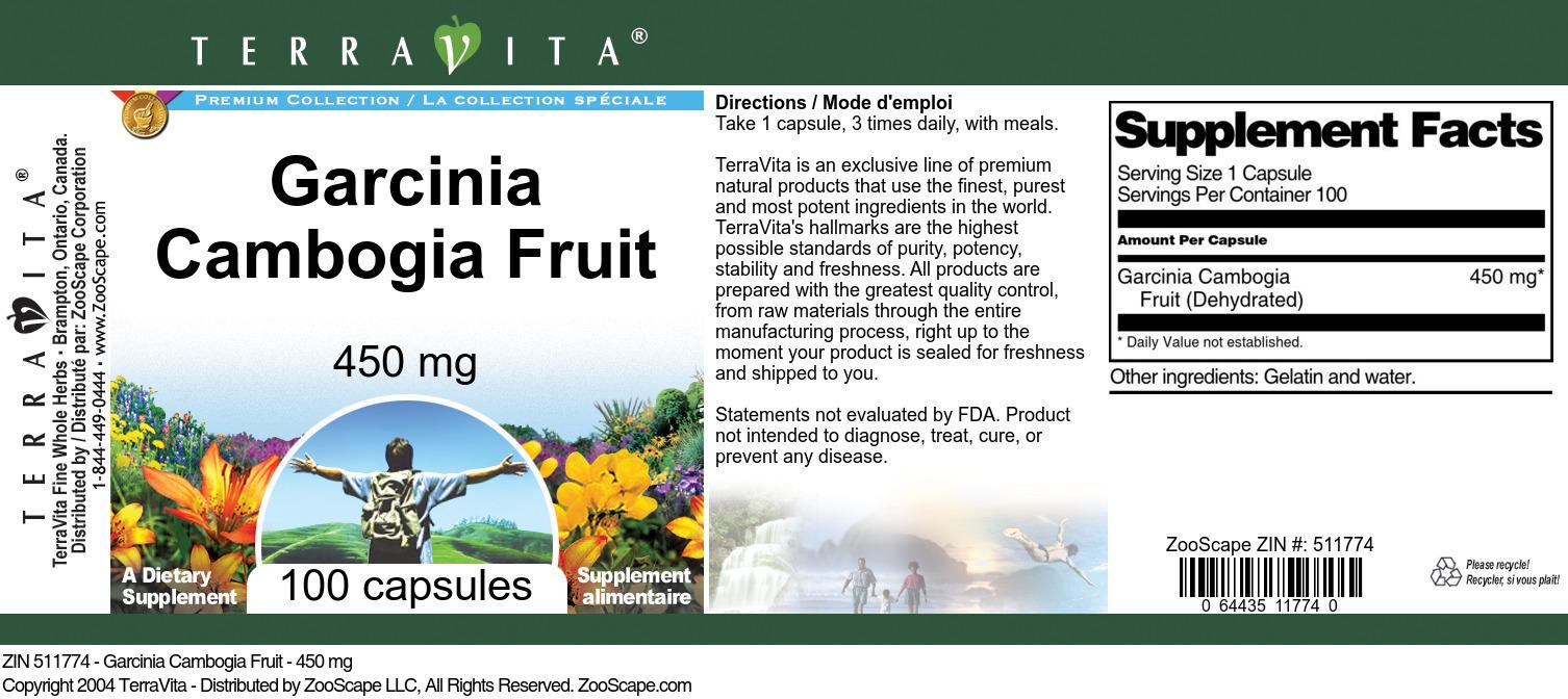 Garcinia Cambogia Fruit - 450 mg
