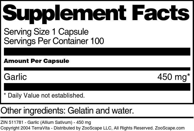 Garlic (Allium Sativum) - 450 mg