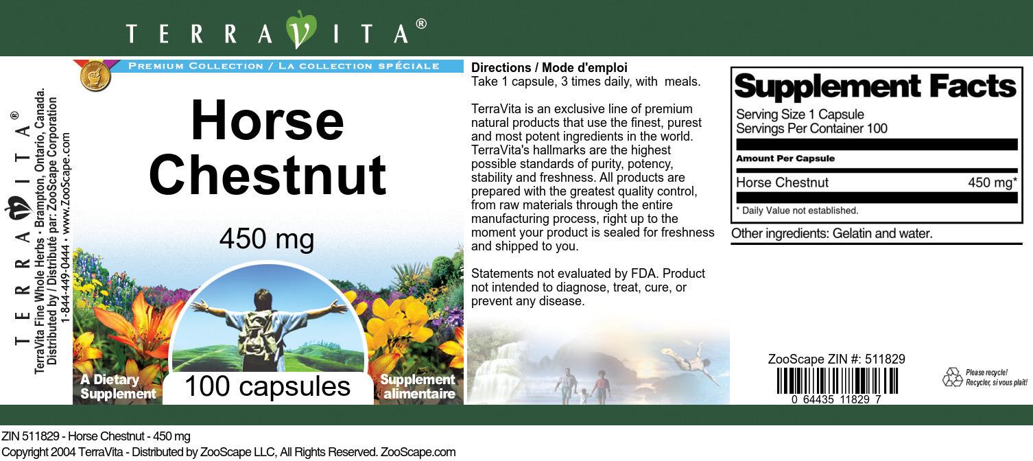 Horse Chestnut - 450 mg - Label