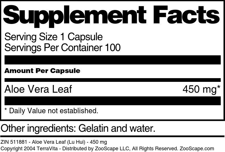 Aloe Vera Leaf (Lu Hui) - 450 mg