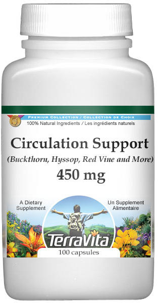 Circulation Support - Buckthorn, Hyssop, Red Vine and More - 450 mg
