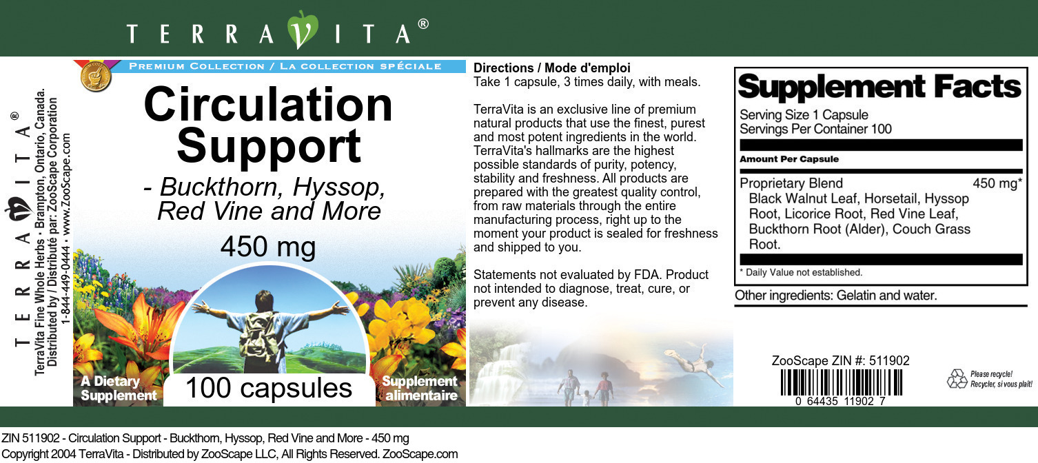 Circulation Support - Buckthorn, Hyssop, Red Vine and More - 450 mg - Label