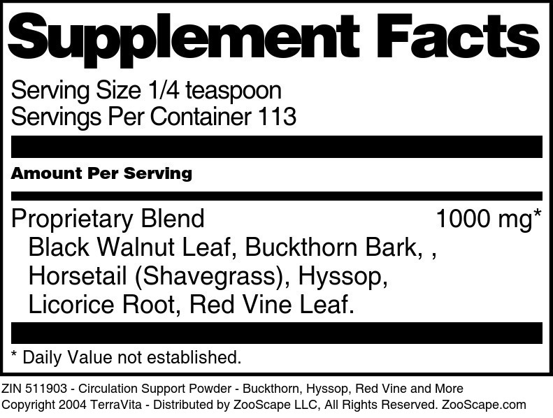 Circulation Support Powder - Buckthorn, Hyssop, Red Vine and More