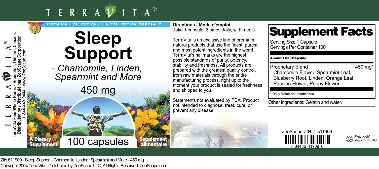 Sleep Support - Chamomile, Linden, Spearmint and More - 450 mg