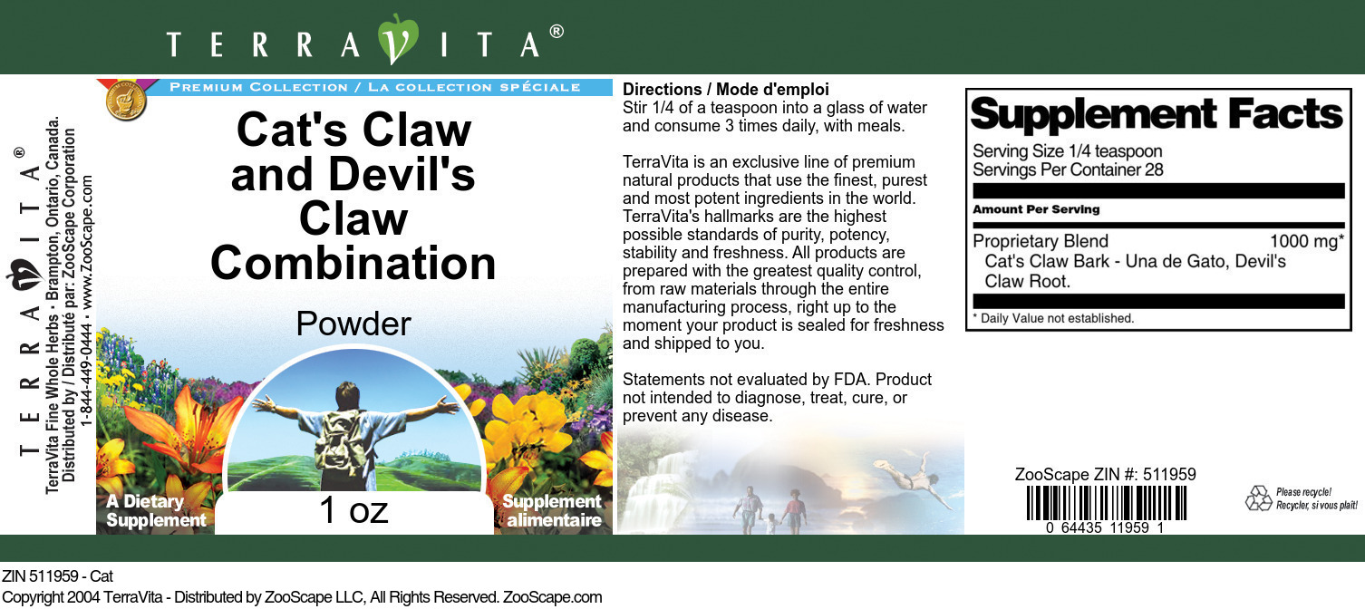 Cat's Claw and Devil's Claw Combination Powder