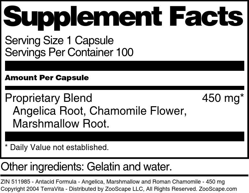 Antacid Formula - Angelica, Marshmallow and Roman Chamomile - 450 mg