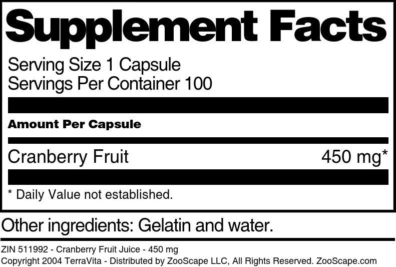 Cranberry Fruit Juice - 450 mg