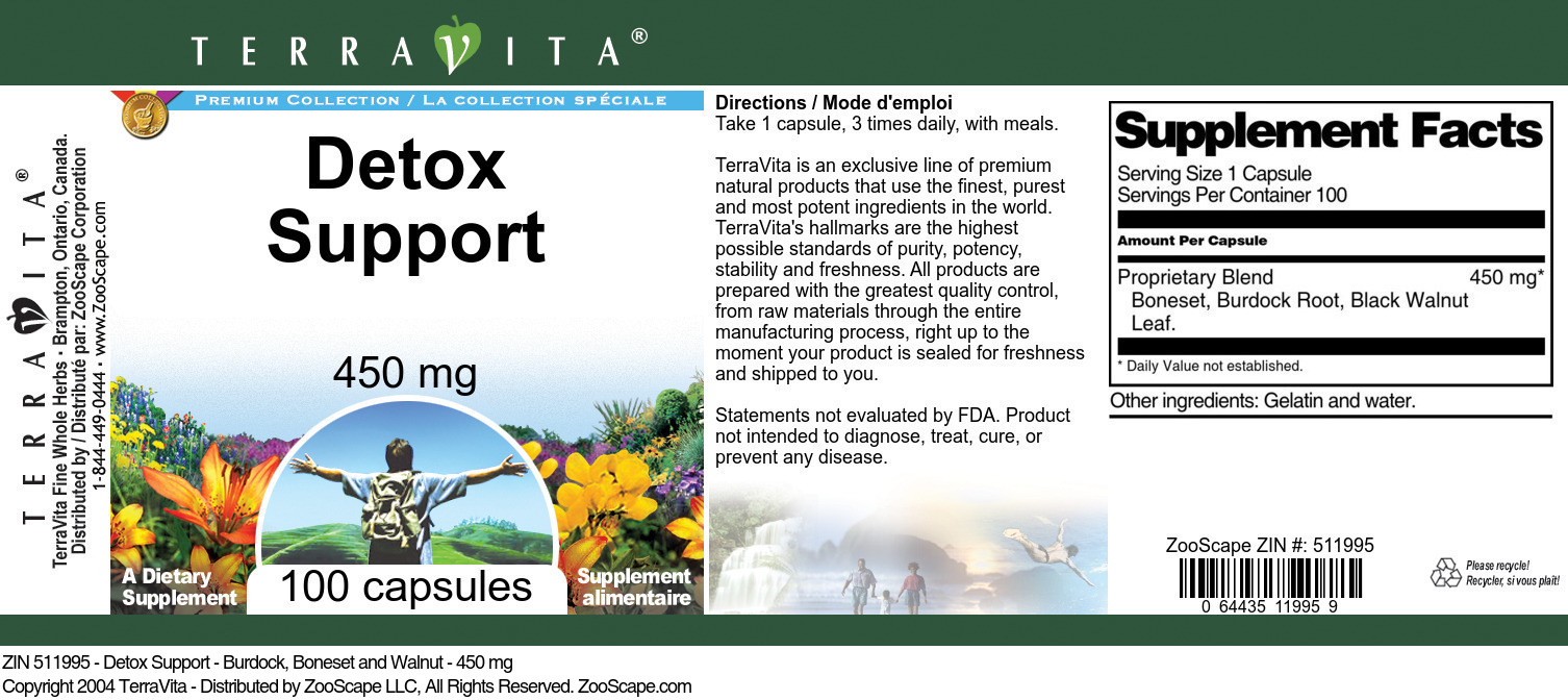 Detox Support - Burdock, Boneset and Walnut - 450 mg