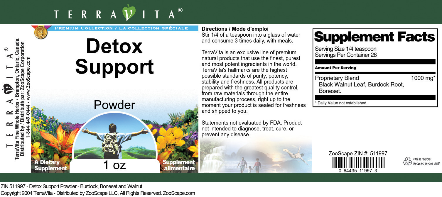 Detox Support Powder - Burdock, Boneset and Walnut