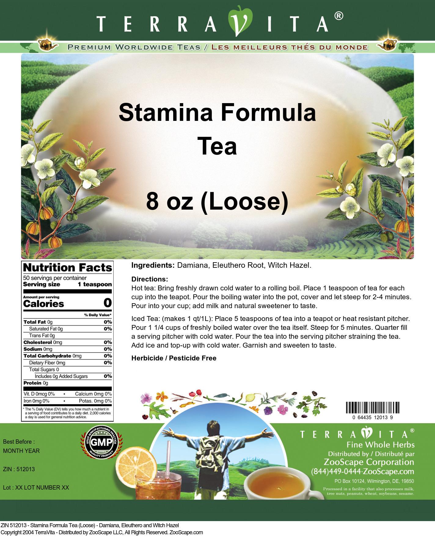 Stamina Formula Tea (Loose) - Damiana, Eleuthero and Witch Hazel