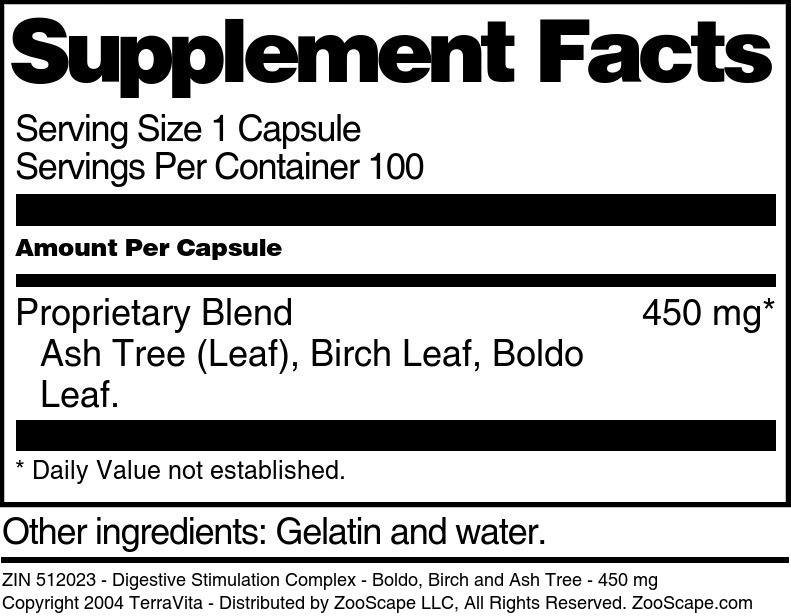 Digestive Stimulation Complex - Boldo, Birch and Ash Tree - 450 mg