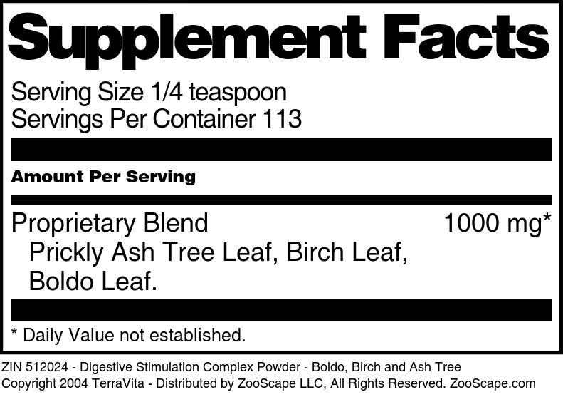 Digestive Stimulation Complex Powder - Boldo, Birch and Ash Tree
