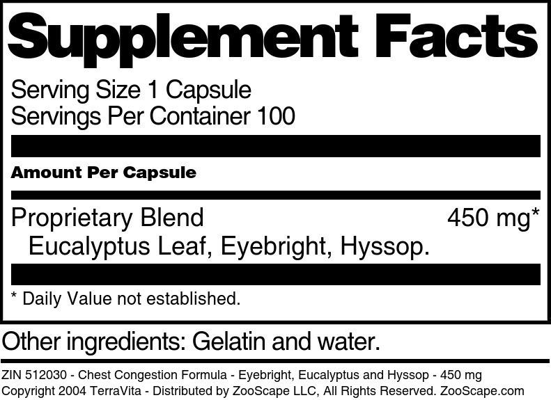 Chest Congestion Formula - Eyebright, Eucalyptus and Hyssop - 450 mg