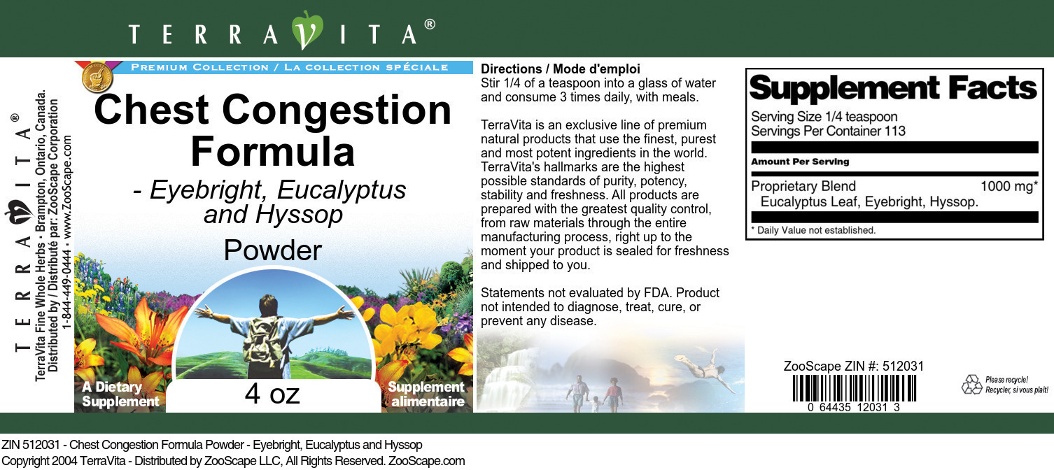 Chest Congestion Formula Powder - Eyebright, Eucalyptus and Hyssop