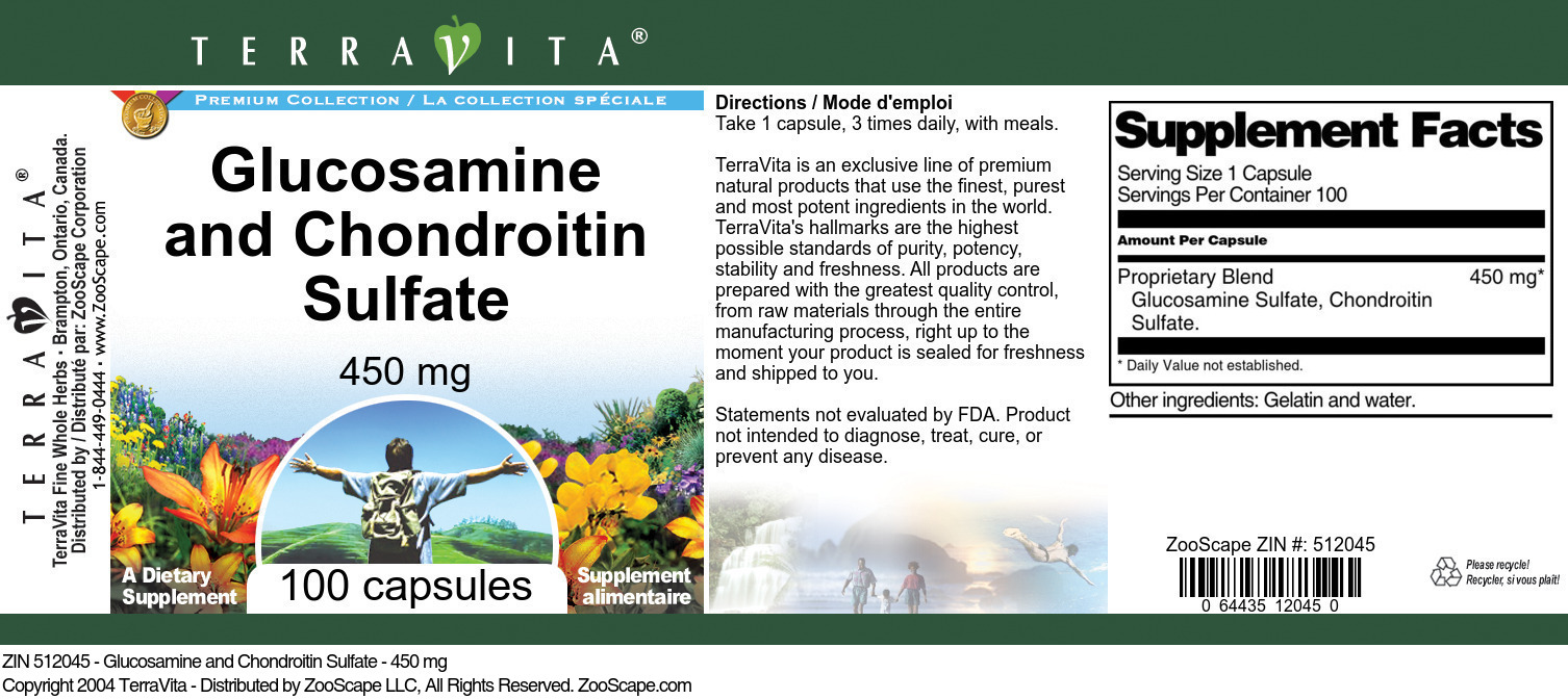 Glucosamine and Chondroitin Sulfate - 450 mg