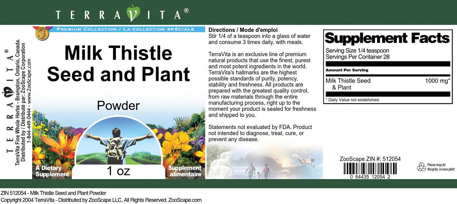 Milk Thistle Seed and Plant Powder