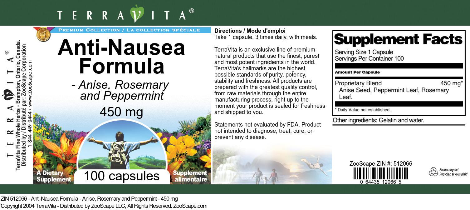 Anti-Nausea Formula - Anise, Rosemary and Peppermint - 450 mg