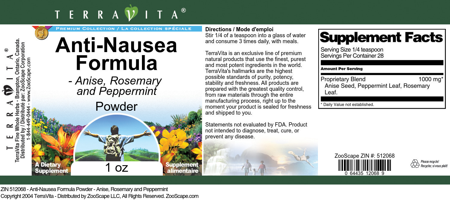 Anti-Nausea Formula Powder - Anise, Rosemary and Peppermint