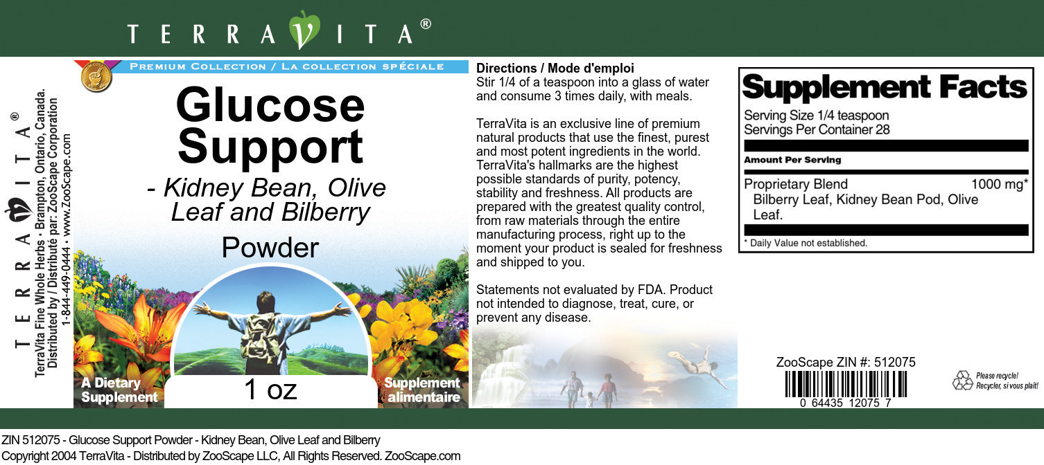 Glucose Support Powder - Kidney Bean, Olive Leaf and Bilberry