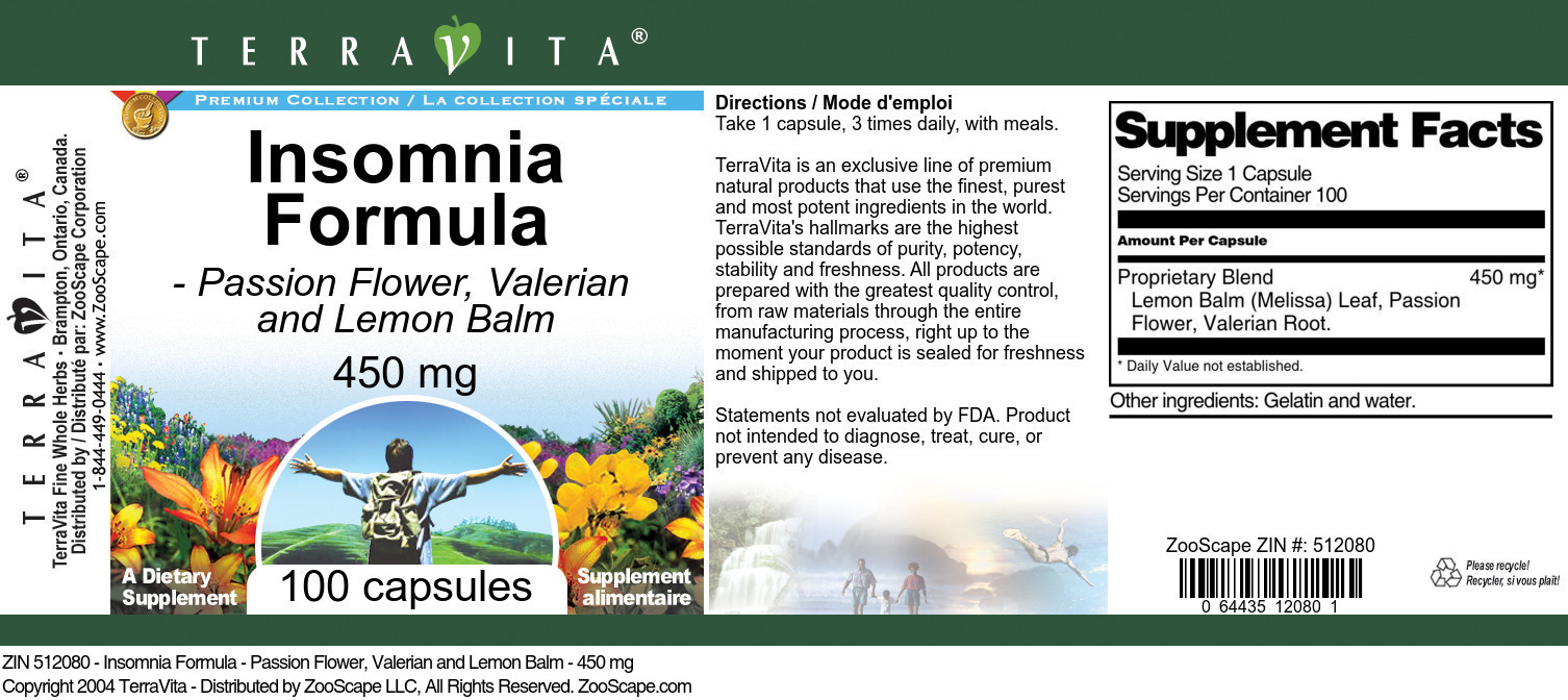 Insomnia Formula - Passion Flower, Valerian and Lemon Balm - 450 mg
