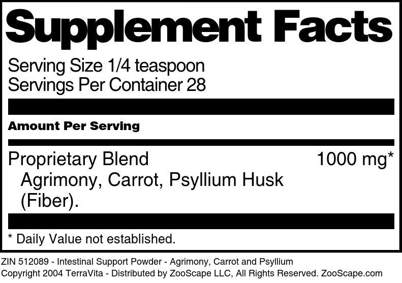 Intestinal Support Powder - Agrimony, Carrot and Psyllium