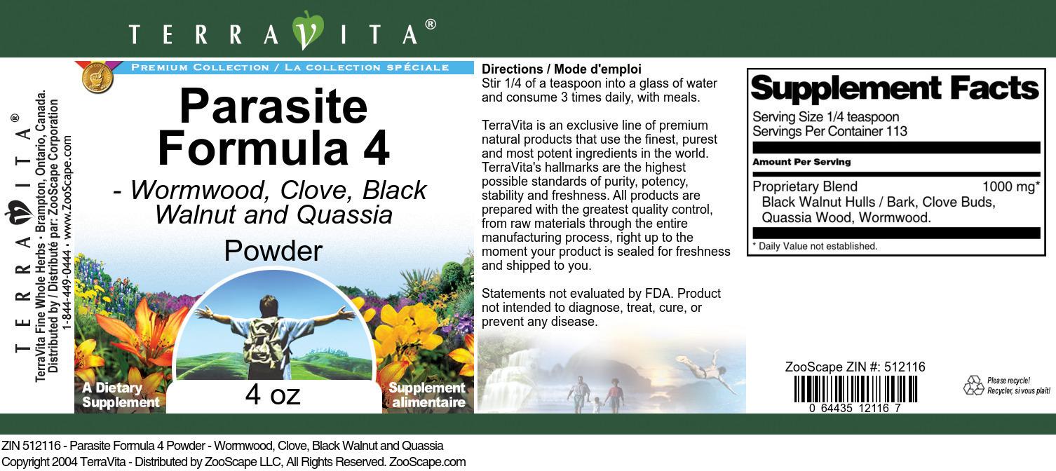 Parasite Formula 4 Powder - Wormwood, Clove, Black Walnut and Quassia