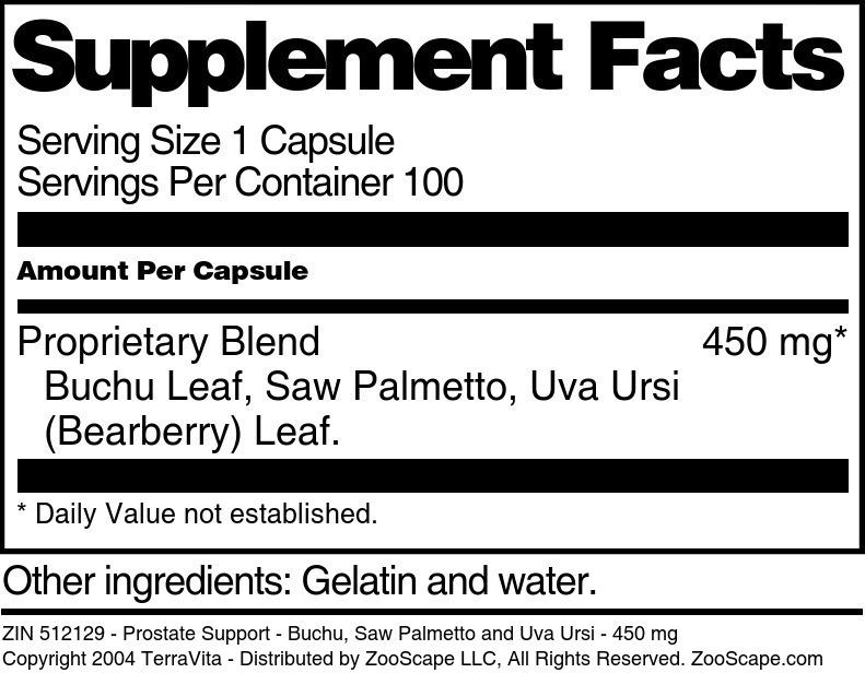 Prostate Support - Buchu, Saw Palmetto and Uva Ursi - 450 mg