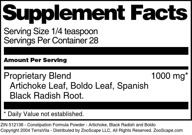 Constipation Formula Powder - Artichoke, Black Radish and Boldo