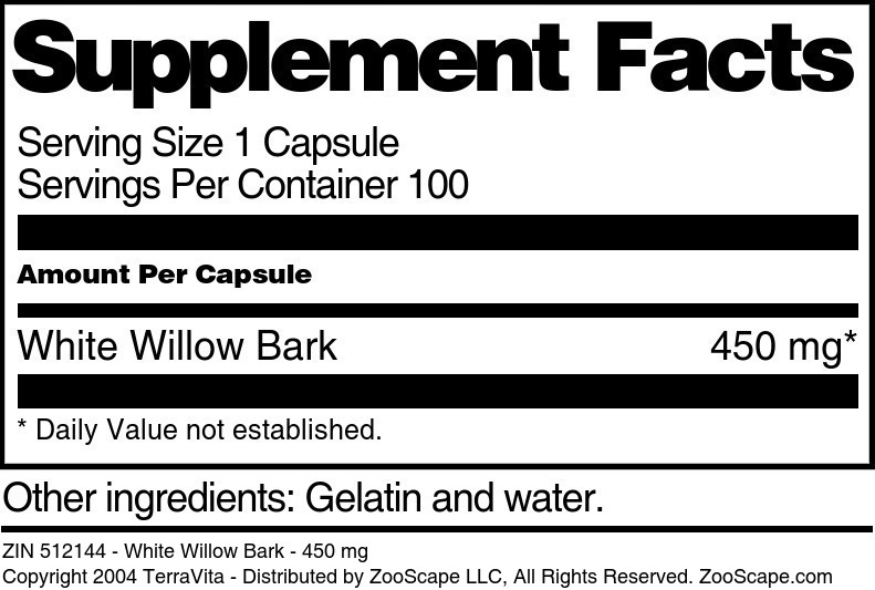White Willow Bark - 450 mg