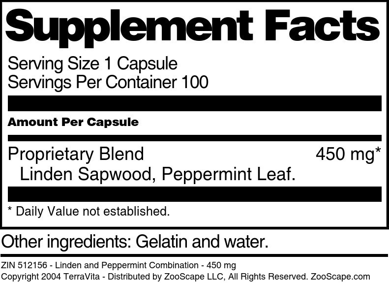 Linden and Peppermint Combination - 450 mg