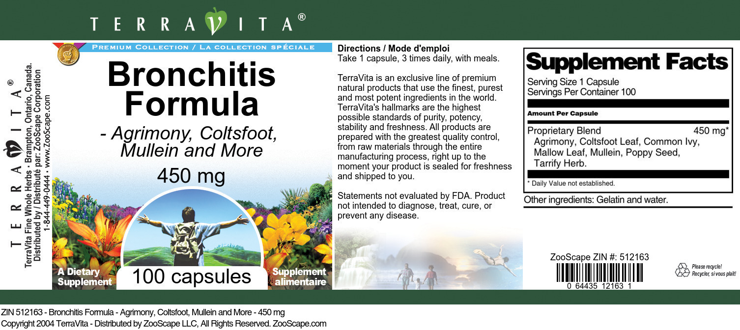 Bronchitis Formula - Agrimony, Coltsfoot, Mullein and More - 450 mg