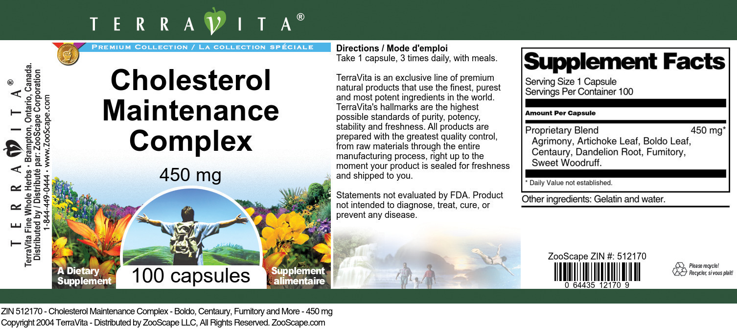 Cholesterol Maintenance Complex - Boldo, Centaury, Fumitory and More - 450 mg