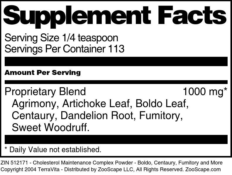Cholesterol Maintenance Complex Powder - Boldo, Centaury, Fumitory and More