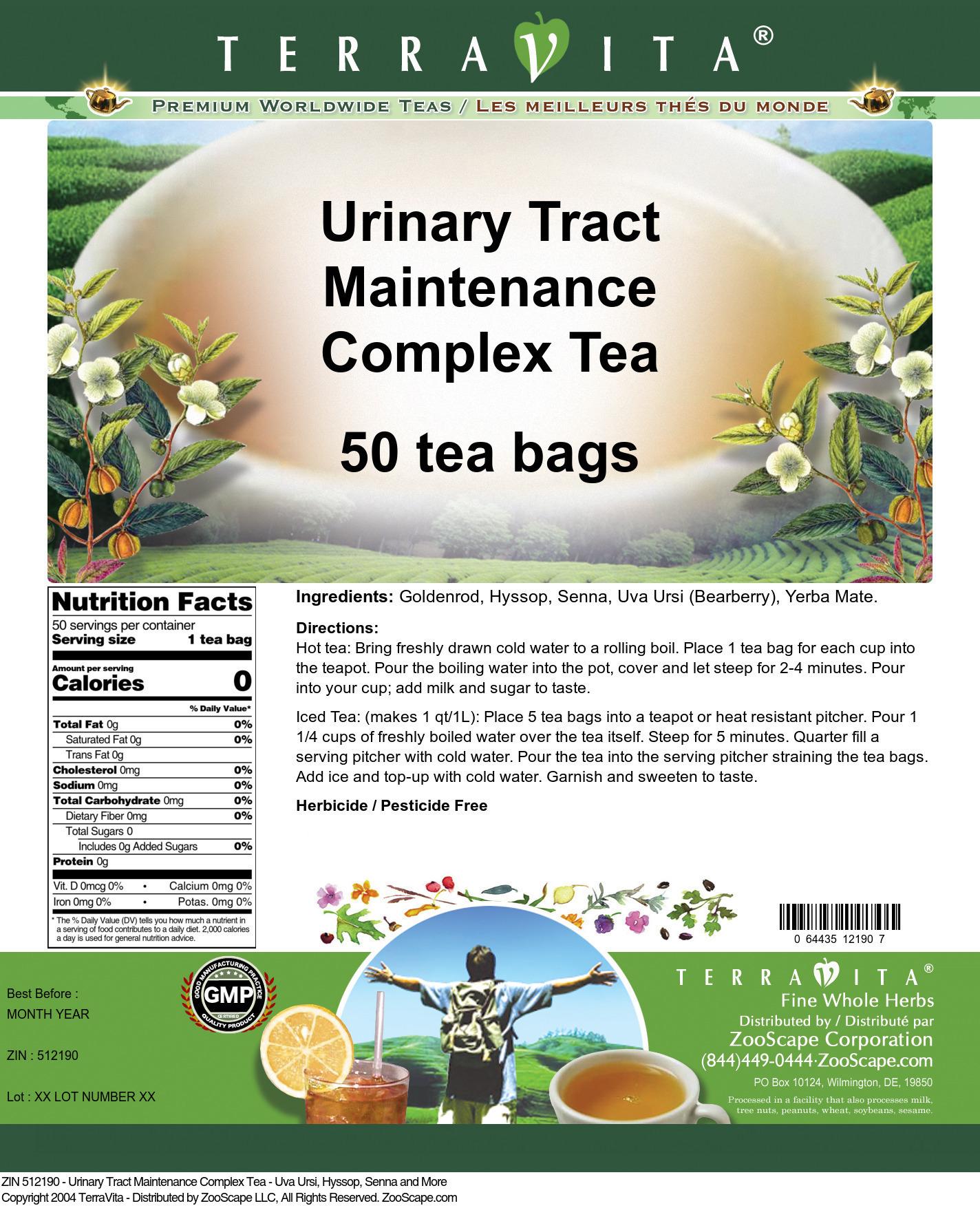 Urinary Tract Maintenance Complex Tea - Uva Ursi, Hyssop, Senna and More