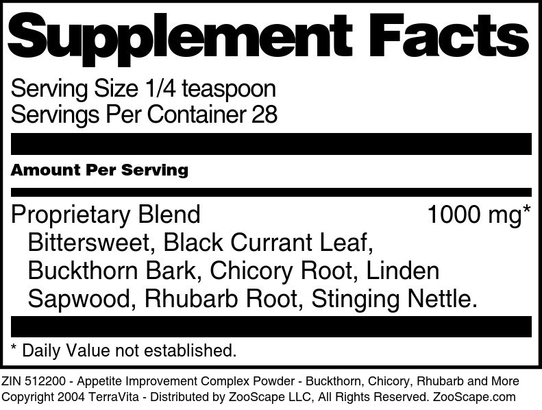Appetite Improvement Complex Powder - Buckthorn, Chicory, Rhubarb and More