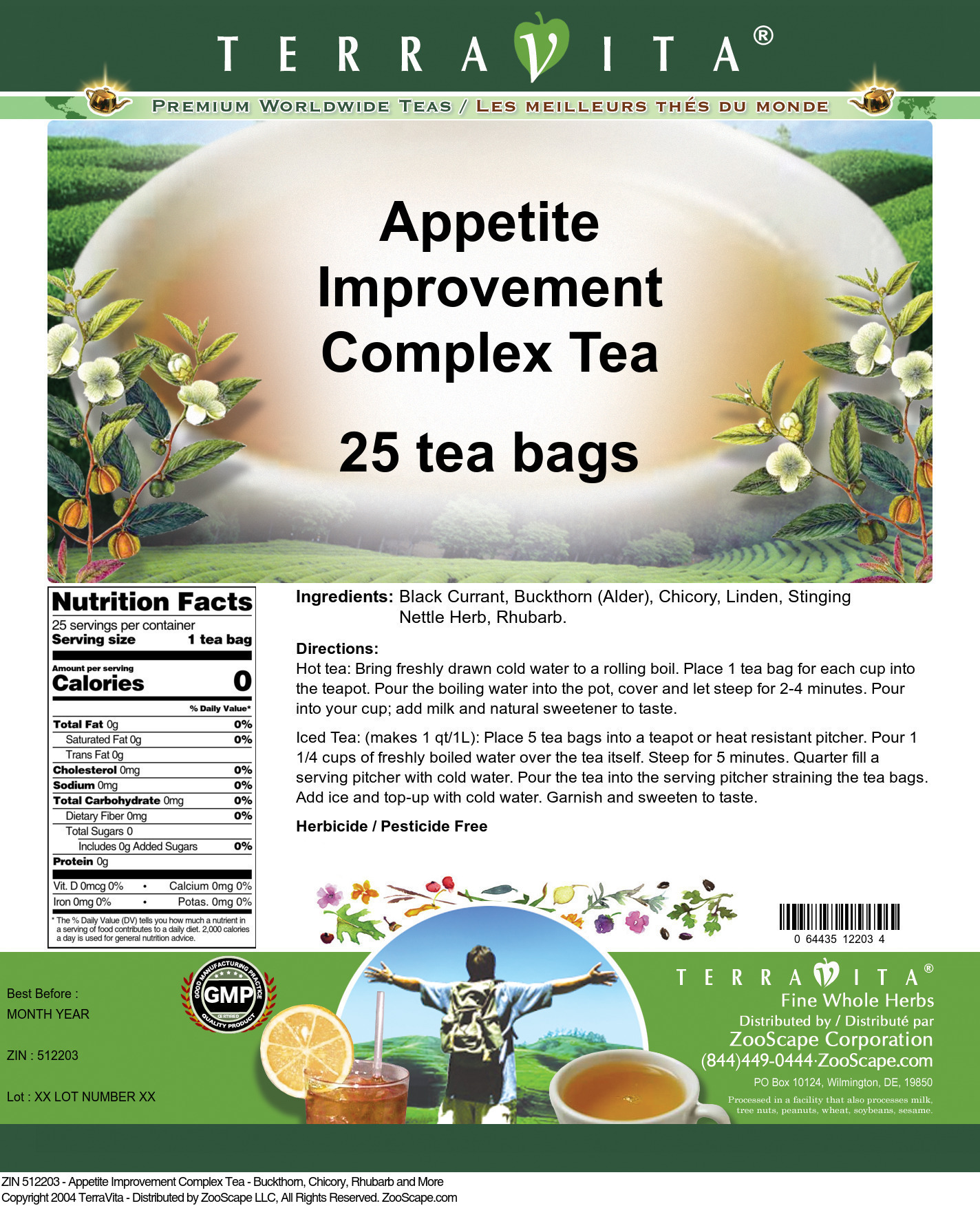 Appetite Improvement Complex Tea - Buckthorn, Chicory, Rhubarb and More