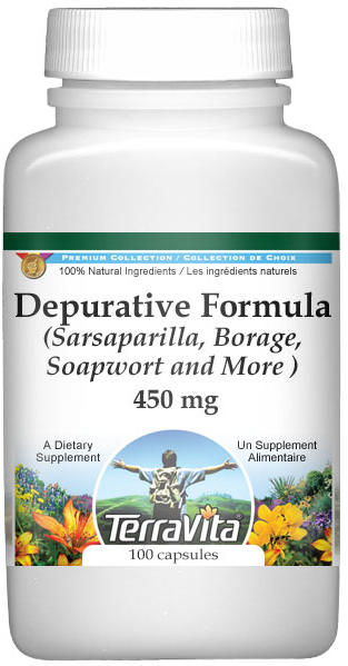 Depurative Formula - Sarsaparilla, Borage, Soapwort and More - 450 mg