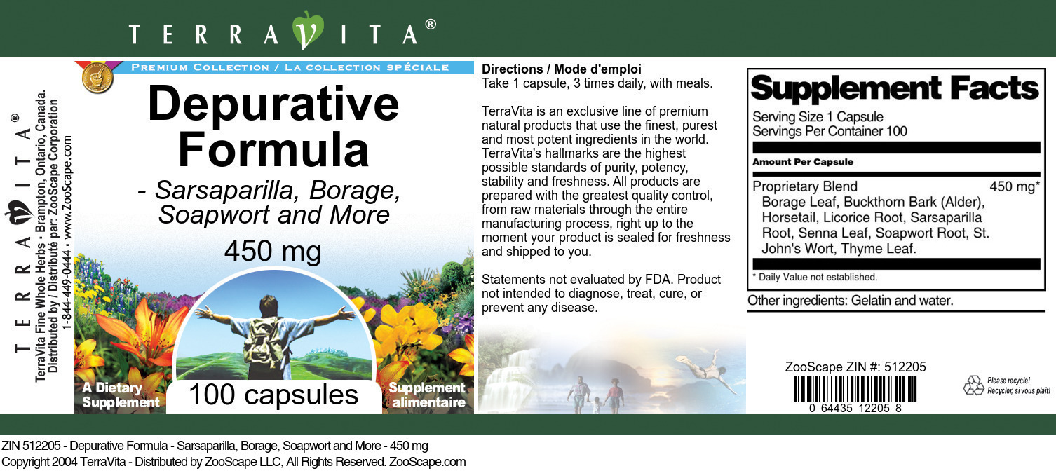 Depurative Formula - Sarsaparilla, Borage, Soapwort and More - 450 mg