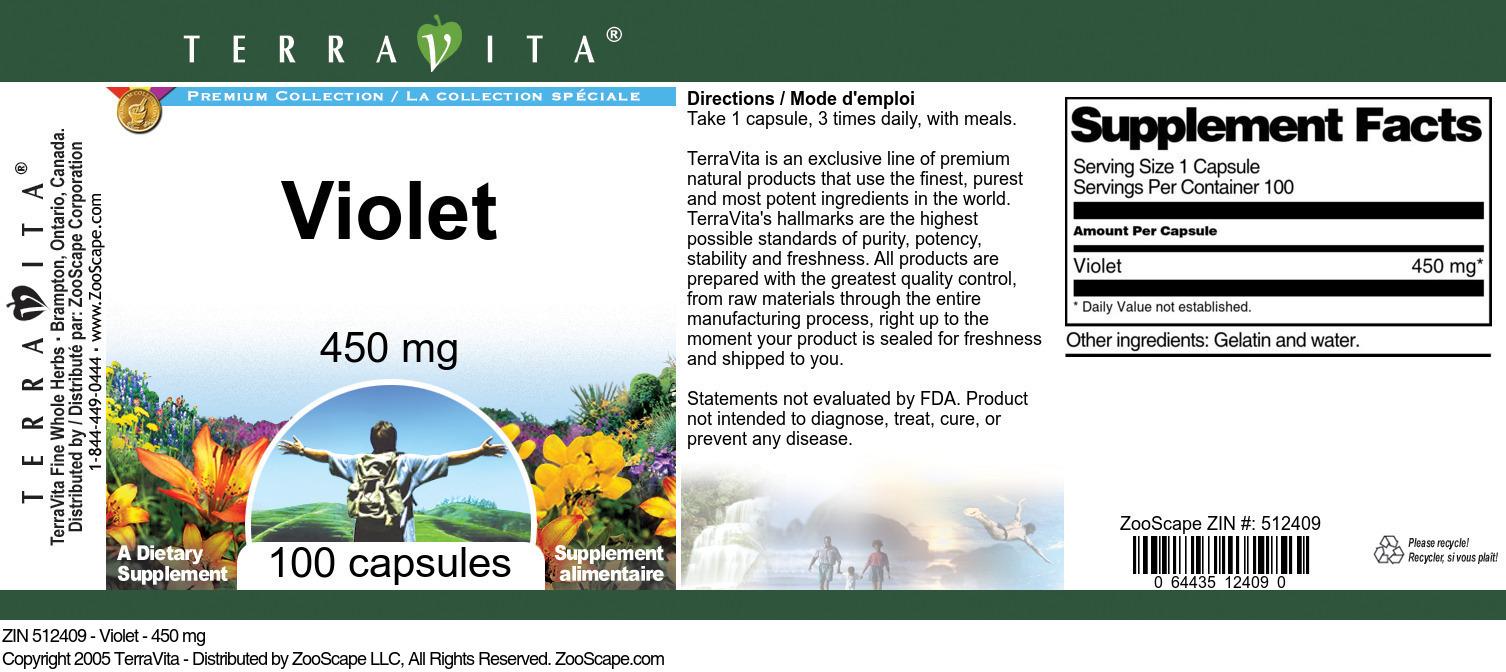Violet - 450 mg - Label